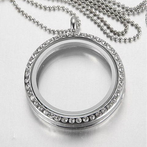 Round Pendant Silver Rhinestone Floating Memory Locket Necklace for Women