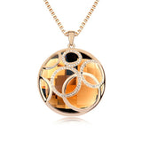 Genuine 18K Gold Plated Round Crystal Pendant Long Necklace Jewelry for Women