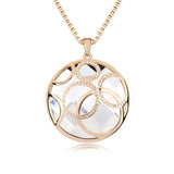 Genuine 18K Gold Plated Round Crystal Pendant Costume Long Necklaces Jewelry for Women, Necklaces, MHY STORE - MHY STORE