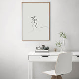 Modern Simple Line Curve Black White Abstract Canvas Wall Art  (Unframed)
