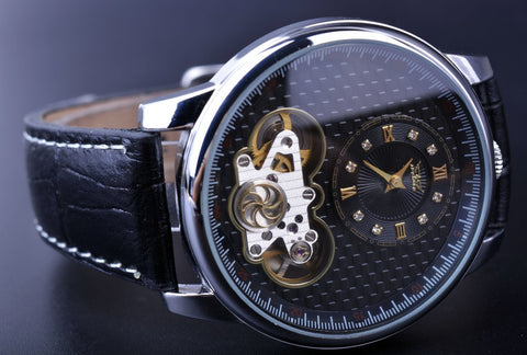 this quartz watch is a skeleton watch for men