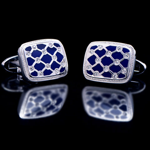 Crystal cuff links Blue High Quality Brand cuff buttons Designer Jewelry