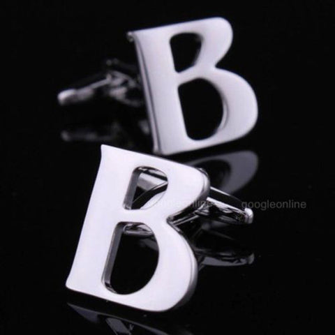 mens stainless steel letter cufflinks