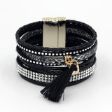 Multilayer Hand-Woven Rope Rhinestone Tassels Bangle Bracelet Gold-Plated Magnetic Clasp, Bracelet, MHY STORE - MHY STORE