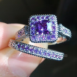 Exquisite Designer 10kt White Gold Filled Princess Cut Amethyst Ring for Women