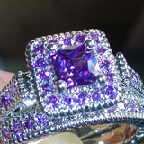 Exquisite 10kt White Gold filled Princess Cut Amethyst Ring for Women, Rings, MHY STORE - MHY STORE
