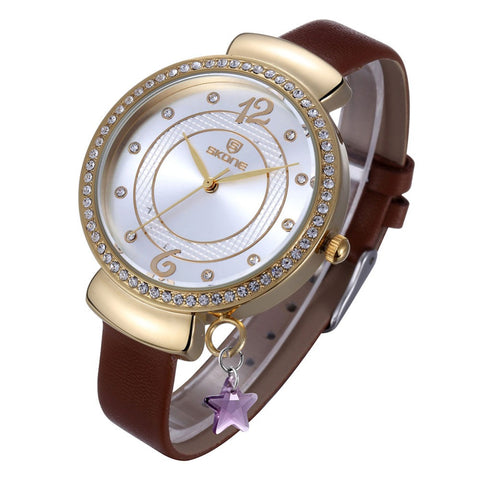 SKONE Yellow Gold Rhinestone Big Dial Women Watch Leather Strap with Star Pendant, watches, MHY STORE - MHY STORE