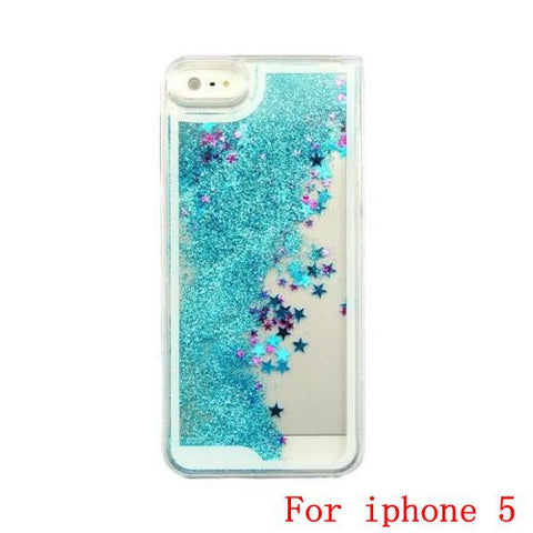 Transparent Dynamic Liquid Colorful Glitter Sand Back Case Cover For iPhone 5 5S 6, phone, MHY STORE - MHY STORE