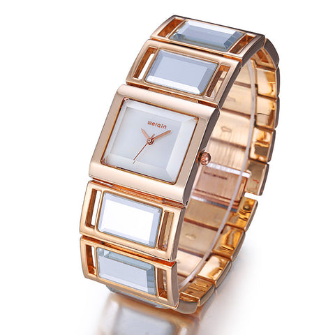 Luxury Gold Mirror Strap Women's Bracelet With Colorful Square Shell, watches, MHY STORE - MHY STORE