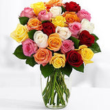 white roses, pink roses, yellow roses and red roses make up this beautiful bouquet