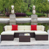 This 7 piece outdoor furniture patio set is our outdoor dining set