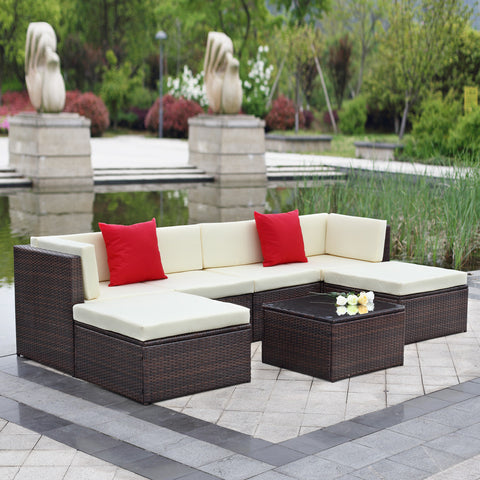 This 7 piece outdoor furniture patio set is our rattan garden furniture