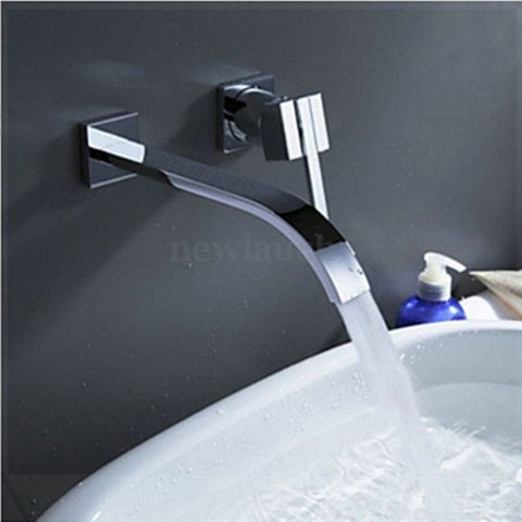 Modern Waterfall Wall-Mount Bathroom Tub Sink Single/2 Handle Faucet Mixer Tap