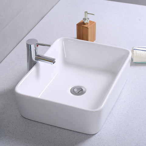 Modern Rectangle Ceramic Vessel Sink Vanity Basin