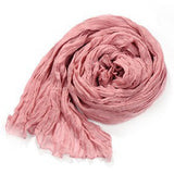 Women Winter Autumn Cotton Crinkle Long Soft Scarves