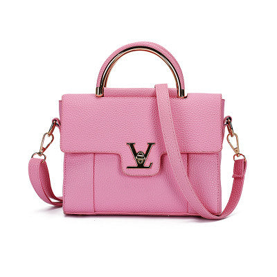 Designer V Letter Handbags for Women Leather Ring Tote Bag