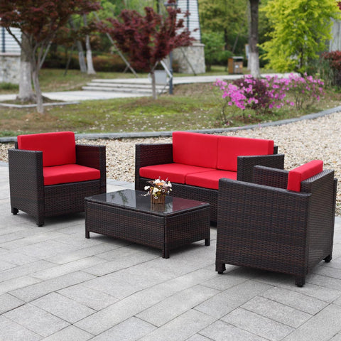 4 Piece Outdoor Furniture Patio Set Is Rattan Garden Furniture