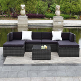 this 7 piece outdoor patio set is wicker furniture