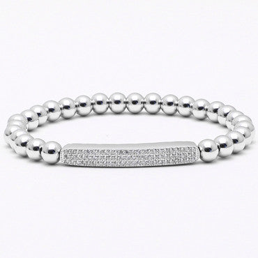 This mens bracelet styled in a cubic zirconia tennis bracelet is dapper