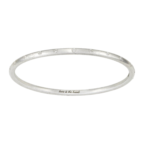 LOVE IS THE BOMB 22 WHITE DIAMOND BANGLE