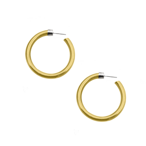 NEW VIRTUOUS CIRCLE GOLD TONE LARGE HOOPS