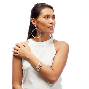 SPHERIC SEED BANGLE + DROP EARRING SET - SILVER - 2 sets available (save 25%, RRP $695)