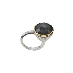 BEATRIX OST BLACK HEMATITE & CRYSTAL RING