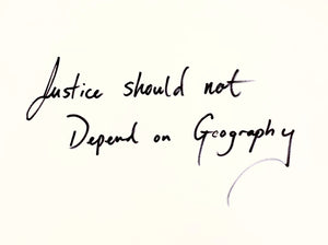 """JUSTICE SHOULD NOT DEPEND ON GEOGRAPHY"" BANGLE - AMANDA NGUYEN COLLABORATION"