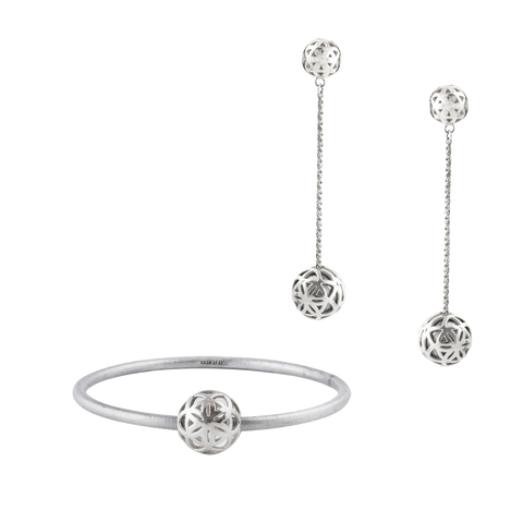 SPHERIC SEED BANGLE + DROP EARRING SET - SILVER (RRP $695)
