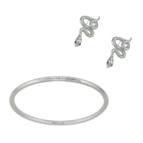 BEATRIX SAPPHIRE SNAKE EARRINGS + BANGLE SET (save 20%, RRP $360)