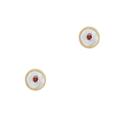 14K GARNET GOLD STUD EARRINGS - SALE 50% 0FF