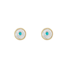Load image into Gallery viewer, 14K TURQUOISE GOLD STUD EARRINGS - SALE 50% 0FF
