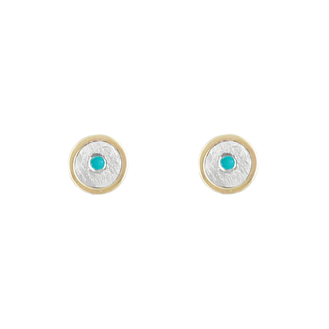 14K TURQUOISE GOLD STUD EARRINGS - SALE 50% 0FF