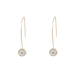 BIRTHSTONE 14K GOLD WIRE DROP EARRINGS