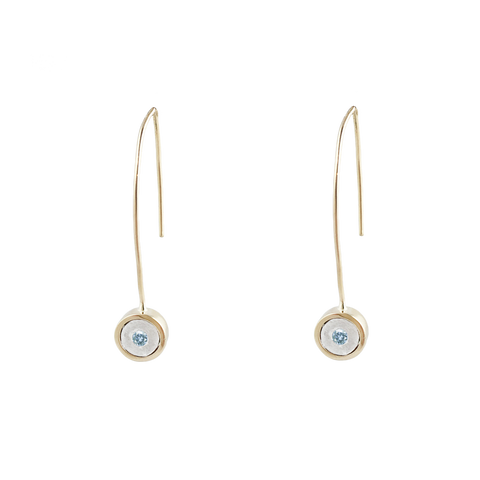 BIRTHSTONE 14K GOLD WIRE DROP EARRINGS - LAST PAIR - AQUAMARINE