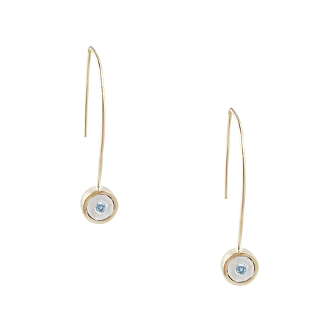 14K AQUAMARINE GOLD WIRE DROP EARRINGS - SALE 50% OFF