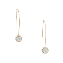 Load image into Gallery viewer, BIRTHSTONE 14K GOLD WIRE DROP EARRINGS - SALE 50% OFF -  AQUAMARINE