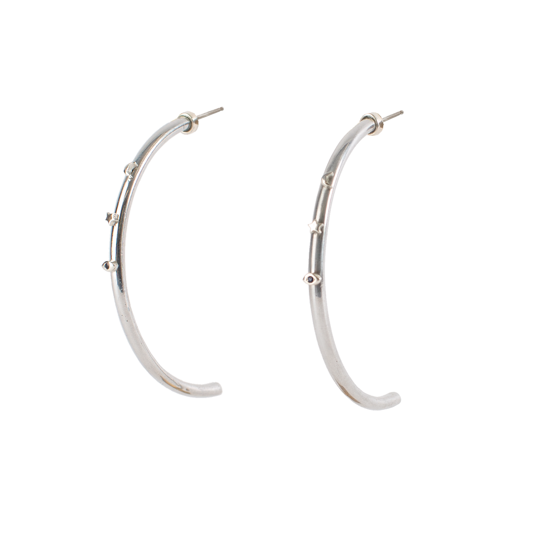 NEW COSMOS MOON, STAR, SAPPHIRE EYE EARRINGS
