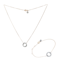 Load image into Gallery viewer, VIRTUOUS FULL CIRCLE NECKLACE + BRACELET SILVER SET  (RRP $220)