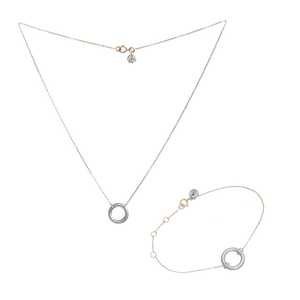 VIRTUOUS FULL CIRCLE NECKLACE + BRACELET SILVER SET  (RRP $220)