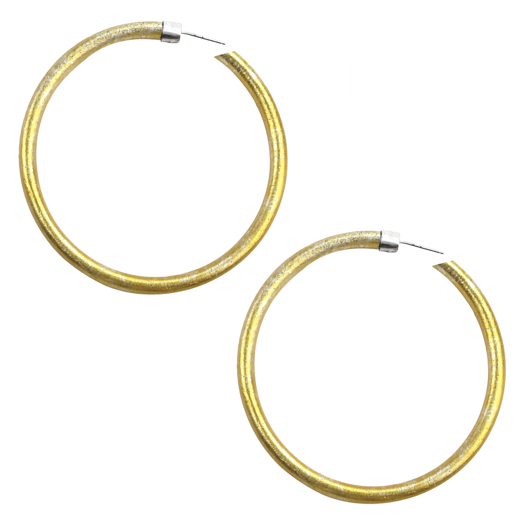 FULL CIRCLE GOLD ANODIZED JUMBO HOOP EARRINGS