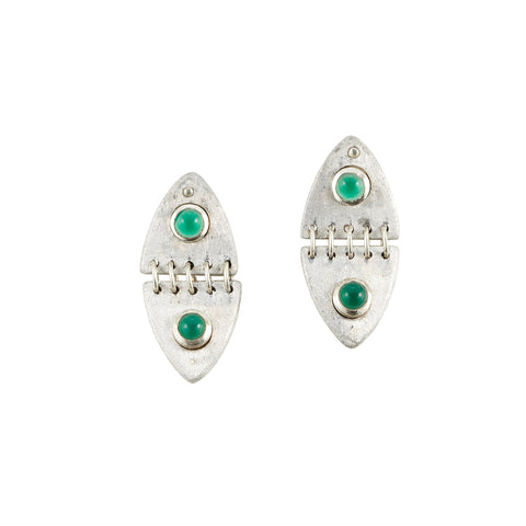 Green Onyx Double Dome Earrings