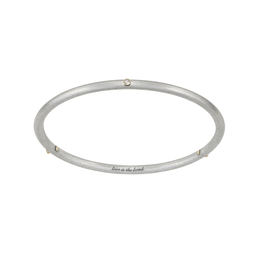 LOVE IS THE BOMB 14K GOLD + 3 DIAMOND  BANGLE