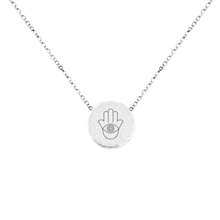 "Load image into Gallery viewer, HAMSA ""EYE OF PROTECTION"" MANTRA NECKLACE"