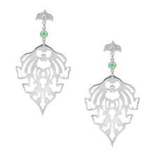 Load image into Gallery viewer, TEMPLE MOTIF EARRINGS WITH GREEN ONYX