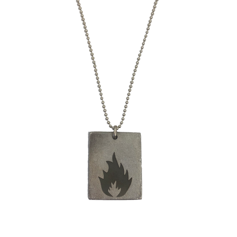 "Massive Attack x Legacy Of War RECTANGLE 30"" Necklace - SILVER"