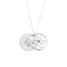 Load image into Gallery viewer, SEED OF LIFE NECKLACE SILVER + GREEN ERINITE SWAROVSKI CRYSTAL