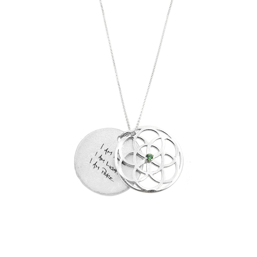 SEED OF LIFE NECKLACE SILVER + GREEN ERINITE SWAROVSKI CRYSTAL