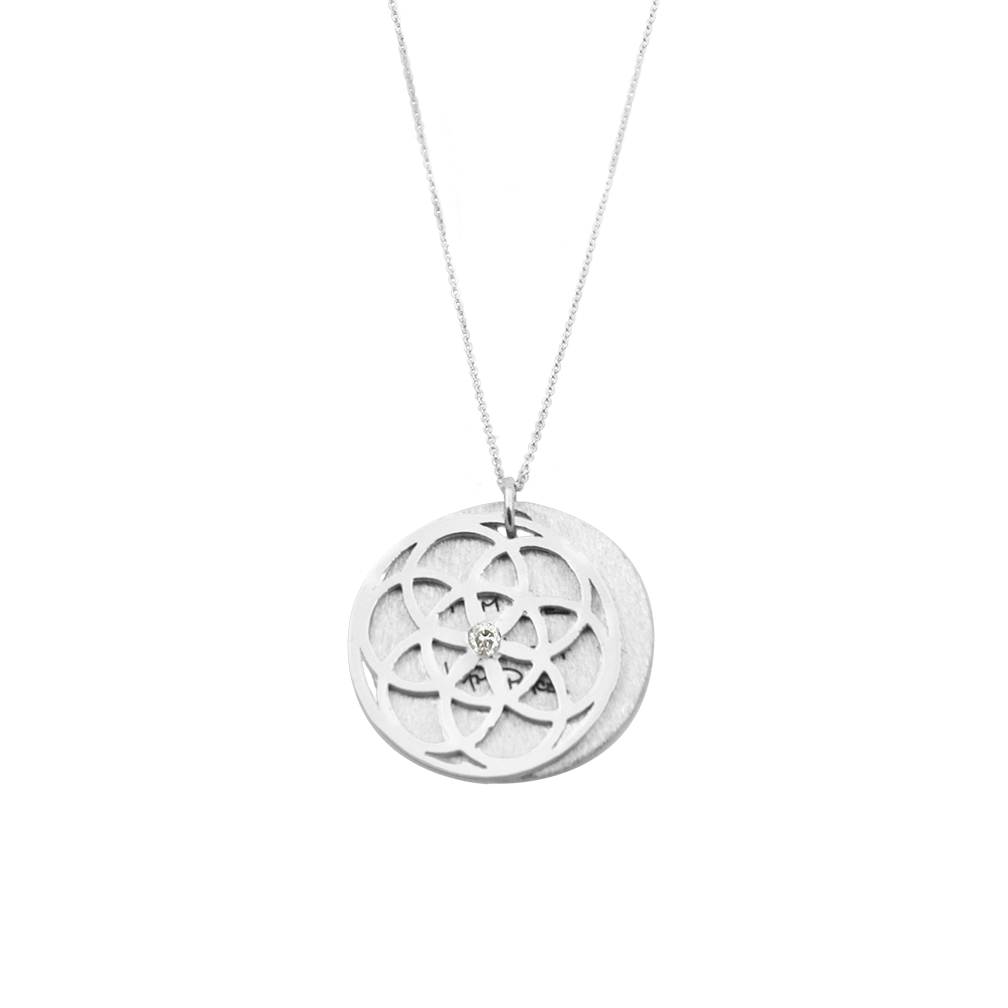SEED of Life Necklace  Sterling Silver DIAMOND