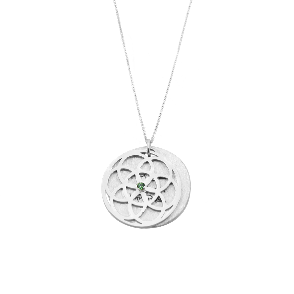 SEED of Life Necklace Green Erinite Swarovski Crystal
